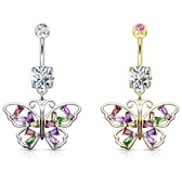 Rainbow Butterfly Wings Dangle Belly Ring