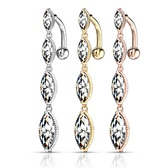 4 Marquise CZ Top Drop Dangle Steel Belly Ring