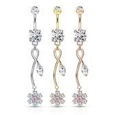 CZ Flower & Vine Dangle Steel Belly Ring