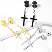 Cross Dangle Fake Plug Earrings (0G Look)