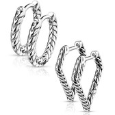 2 Pair Scaled Design Steel Hoop Earrings