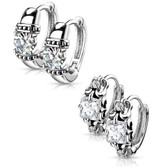 2 Pair Prong CZ Steel Hoop Earrings