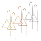 Triangle Shape Bar Dangle Steel Threader Earrings