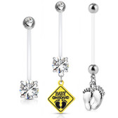 14g Hummingbird Bird Multi Color Red CZ Eye Naval Belly Ring Prong Set Clear CZ
