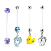 4PC Value Pack Lot Flexible Pregnancy Belly Rings