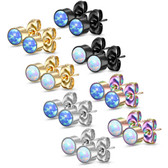 5mm Bezel Set Synthetic Opal Steel Stud Earrings