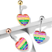 Rainbow Flag Glitter Heart Steel Belly Ring