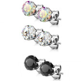 3 Pair Color Mix Round CZ Steel Stud Earrings (3-7mm)