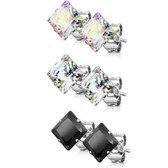 3 Pair Color Mix Square CZ Steel Stud Earrings (3-7mm)