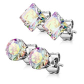 2 Pair Round/Square AB CZ Steel Stud Earrings (3-7mm)