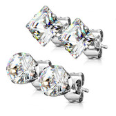 2 Pair Round/Square Clear CZ Steel Stud Earrings