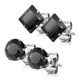 2 Pair Round/Square Black CZ Steel Stud Earrings