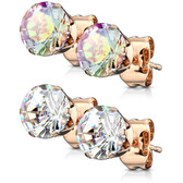 2 Pair CZ(AB/Clear) Rose Goldtone IP Stud Earrings