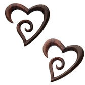 Organic Sono Wood Heart Shaped Hanger Plugs