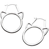 Silvertone Steel Cat Head Plug Hoop Earrings