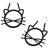 Matte Black Cat w/Whiskers Steel Plug Hoop Earrings
