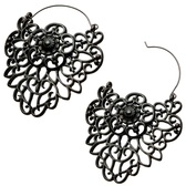 Gunmetal Filigree Crest Steel Plug Hoop Earrings