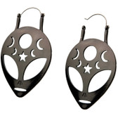 Gunmetal Alien Head Steel Plug Hoop Earrings