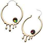 Goldtone Drip Steel Plug Hoop Earrings