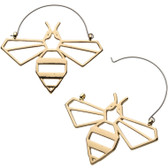 Goldtone Bee Outline Steel Plug Hoop Earrings