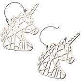 Geometric Unicorn Steel Plug Hoop Earrings