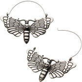 Death Moth Steel Plug Hoop Earrings