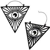 Matte Black All Seeing Eye Steel Plug Hoop Earrings