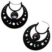 Matte Black Moon Phase Steel Plug Hoop Earrings