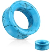 "Turquoise Stone Double Flared Tunnels (2g-1"")"