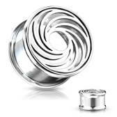 "Steel Swirl Face Double Flared Tunnels (0g-1"")"