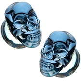 "Raised Skull Double Flared Glass Plugs (2g-5/8"")"