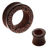"Tribal Swirl Sawo Wood Tunnels (00g-1"")"
