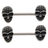 PAIR - Shady Skull Steel Nipple Ring Barbells