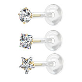 3PC Lot CZ Shapes Flexible Bar Steel Labret Studs