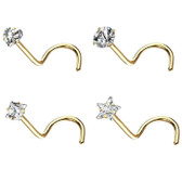 4PC CZ Shapes Steel Nose Screw Rings 20G