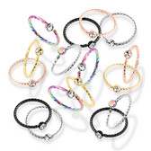 Jeweled Twisted Hoop Steel Nose Ring 20G