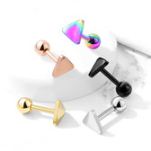 Triangle Shape Top Steel Cartilage Tragus Stud 16G
