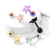 Star Shape Top Steel Cartilage Tragus Stud 16G