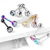 Crystal Top Steel Tongue Ring Barbell
