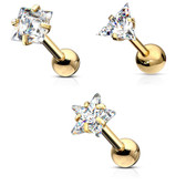 3PC Lot CZ Shape Mix Steel Cartilage Tragus Studs