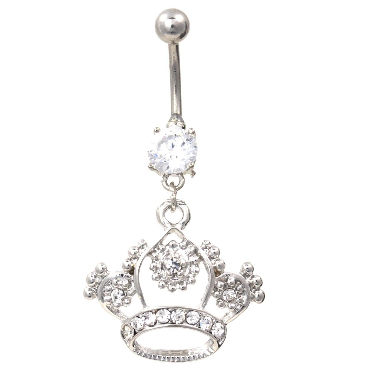 Elegant Clear Gem Crown Dangle Belly Ring
