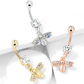 AB Paved Bee Dangle Steel Belly Ring
