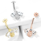 Bee & Flower Internally Threaded Steel Belly Ring