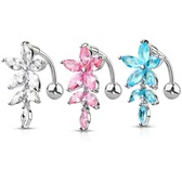 Top Down Marquise CZ Flower Steel Belly Ring