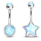 2PC Lot Epoxy Star & Disc Steel Belly Ring