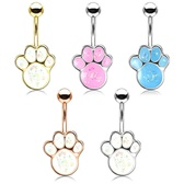 Opalescent Glitter Paw Steel Belly Ring