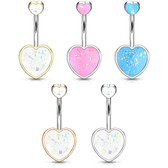 Opalescent Glitter Double Heart Steel Belly Ring