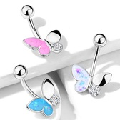 Opalescent Glitter Butterfly Steel Belly Ring