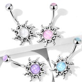 Jagged Tribal Sun Steel Belly Ring