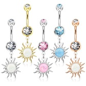 Opalescent Glitter Tribal Sun Dangle Steel Belly Ring